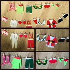 Santa and Elf washing lines Christmas decorations