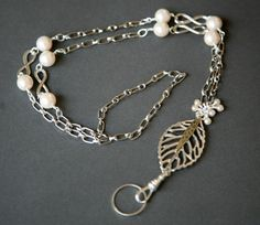 Antiqued Silver Leaf and Pearl ID/Eyeglass Detachable Ring Badge Lanyard