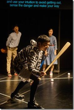 "Yoon Jae Lee, Pijin Neji, Sung Hee and Wi Aoi Nozu star in MCA Stage and Public Theatre's ""God Bless Baseball,"" written and directed by Toshiki Okada. (photo credit: Moon So Young, Asian Arts Theatre)"