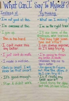 Promote positive self-talk in the classroom! From the National Association of School Psychologists.