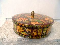 Vintage Decorative DAHER Floral Tin Candy Container Collectible Made in England via Orphaned Treasures Etsy