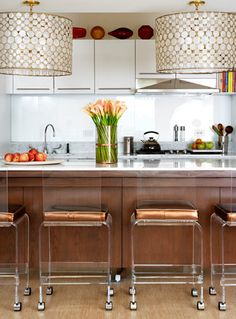 Stylish home: Kitchens -love chairs that enhance kitchen view...