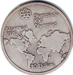 World map on Canadian 10 dollar coin