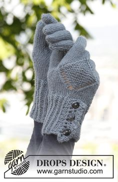 "Emily Gloves - Knitted DROPS gloves with lace pattern and a small lace edge in ""BabyAlpaca Silk"". - Free pattern by DROPS Design Gilet Crochet, Crochet Gloves, Knit Mittens, Crochet Baby Hats, Crochet Patterns For Beginners, Knitting Patterns Free, Free Knitting, Free Pattern, Drops Design"
