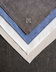 Handkerchief Pocket Square Custom Cross Stitch Monogram- natural linen. $44.00, via Etsy. (Could DIY this so easily.)