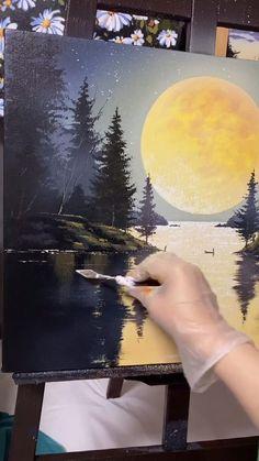 Canvas Painting Tutorials, Diy Canvas Art, Painting Art, Guache, Indian Art Paintings, Acrylic Art, Painting Inspiration, Landscape Paintings, Amazing Art