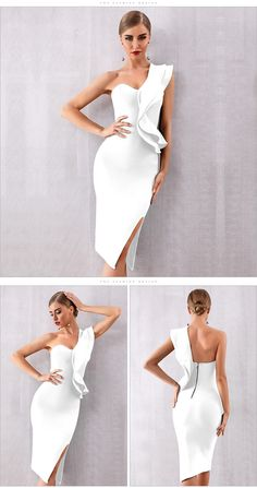 ADYCE 2019 New Summer Women Bandage Dress Celebrity Evening Party Dresses Sexy One Shoulder Ruffles Bodycon Club Dress Vestidos-in Dresses from Women's Clothing – Vent Mall Elegant Dresses, Pretty Dresses, Sexy Dresses, Casual Dresses, Short Dresses, Prom Dresses, Formal Dresses, Wedding Dresses, Midi Dresses