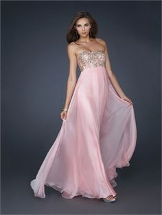 Glamourous Strapless Beaded on the Bust Full Length Chiffon Prom Dress PD10868