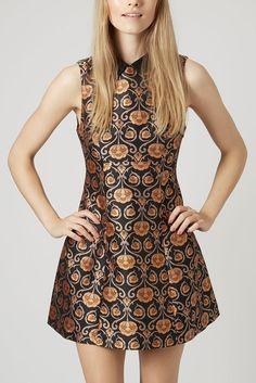 Black Collar Oriental Print Sleeveless Mini Dress