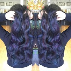 She got tired of her light ombre because it was too much maintenance. Asian hair tends to get brassy easily. She wanted something natural and healthy but not boring. So I took her back to natural with purple and blue peekaboos!  @emmileebabyy