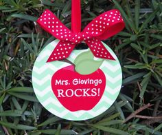 Personalized Teacher Apple Ornament  Two Sided by ThatPartyChick, $15.00