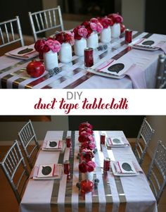 Love the simple decorating idea: spray-painted mason jars of flowers, shiny silver duct tape on the tablecloth! Anything red and pink always makes my heart beat faster.