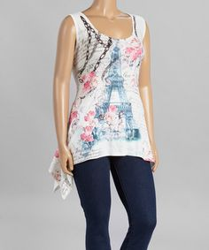 This Blue & White Eiffel Tower Sidetail Tank - Women & Plus by Citi Life is perfect! #zulilyfinds