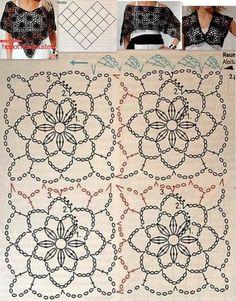 Wonderful Crochet a Puff Flower Ideas Crochet Diagram, Crochet Chart, Love Crochet, Crochet Motif, Crochet Doilies, Crochet Lace, Crochet Stitches Patterns, Stitch Patterns, Knitting Patterns