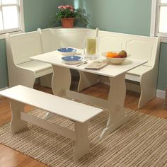 Features:  -Help to utilize the dining space.  -Storage under bench.  -Durable set fits snugly in any corner, helping you utilize your dining space.  Table Top Material: -Manufactured wood.  Table Bas