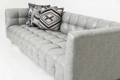 Delano Sofa in Grey Faux Leather