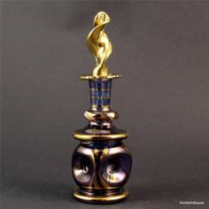 Purple Gold Pinched Patterm Egyptian Blown Glass Perfume Bottle