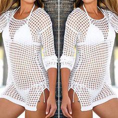 beach cover up Brand New Summer Women Sexy Mesh Knitted Crochet Dress Cover Ups