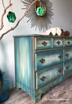Beautiful Shades of Green Dresser with Copper Accents by TheTurquoiseIris on Etsy