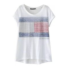 Round Neck Short Sleeve Flag Print Color Block Dip Hem Tee ($13) ❤ liked on Polyvore featuring tops, t-shirts, beautifulhalo, bh, shirts, print tees, t shirts, short sleeve tee, short sleeve print shirt and block t shirt
