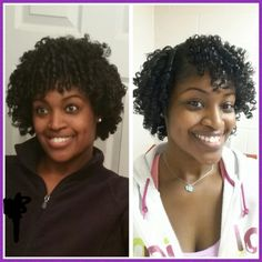 Day 6 on left. Day 1 on right. Flexi rods on natural hair.