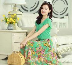 7108fd45aa6 New 2014 summer petal short-sleeve O neck dress long design chiffon beach  dress bohemia
