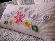 Vintage Chenille Bolster / Pillow 28 x 14  Pink Floral by TWFaith