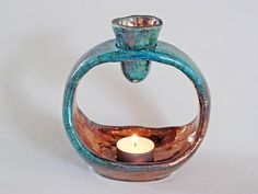 O-ROMA bronze / turquoise / blue ceramic Raku fired Slab Pottery, Ceramic Pottery, Ceramic Oil Burner, Essential Oil Burner, Scent Warmers, Pottery Workshop, Oil Warmer, Diy Candle Holders, Oil Burners