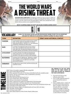 This video handout is for the History Channel's WORLD WARS- A RISING THREAT (2nd Episode). I only created a handout for this section. I used the video & this handout to replace my WWII begins lecture. It worked out very well especially since I teach US History and it is review for most students.