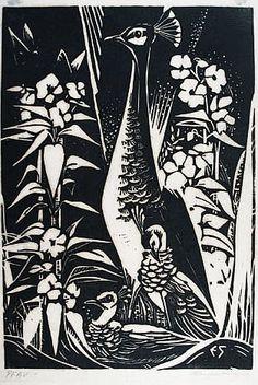 ✨ Emma Schlangenhausen (1882-1947) - Pfau, um 1925, Holzschnitt auf Japanpapier, in der Platte monogrammiert E S', eigenhändig mit Bleistift signiert, 38 x 26 cm