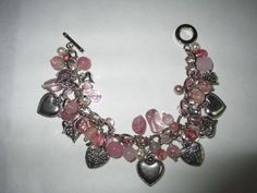 #EtsyValentines #EtsyGifts Beautiful Heart Bracelet with Pink Glass Beads by SilkRoadBoutique