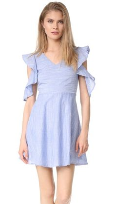 J.O.A. Cold Shoulder Dress blue ruffle $90 | Shopbop
