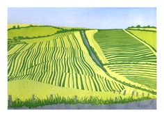 Alison Deegan | An original reduction lino cut print | This print captures a moment in time on a late summer day on the most southerly tip of Scotland. The farmer had just cut the ley and the cutters had laid it out in big fat stripes up and down the fields