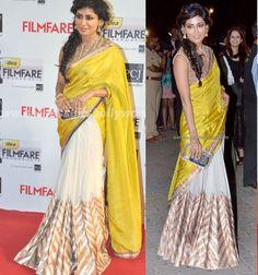 Chitrangada Singh Georgette Border Work Printed Yellow Bollywood Style Saree - 1135