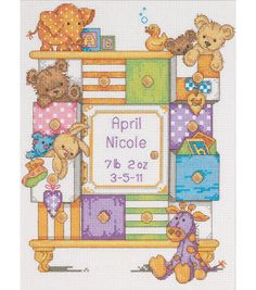 Dimensions Baby Hugs Baby Drawers Birth Record Counted Cross Stitch Kit More