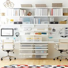Of course, we pulled some inspiration for our own office from some of our favorite shops and brands. We loved this White elfa décor Home Office from the Container Store. Open storage is a great option for a fully functional small workplace: it doesn't take up visual space and is easy to access.  More office design tips here: http://www.modernlantern.com/blogs/news/120433735-designing-without-cords-modern-lantern-headquarters