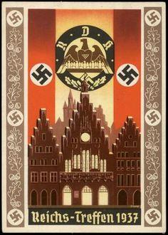 "Nazi propaganda poster Reichs-Treffen 1937"" - ""Empire-meet"" Reich Meeting of Famlies with many Children"