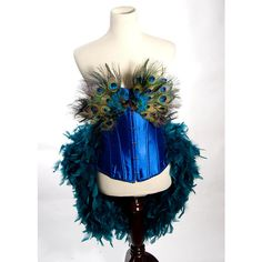 LARGE Burlesque Peacock Feather Corset Costume Fantasy Fairy Royal Blue Bird Teal Sexy Adult Women's found on Polyvore