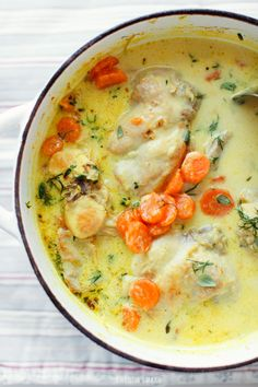 Rabbit in cream with carrot & dill Learn To Cook, Soups And Stews, Soul Food, Bon Appetit, Feel Better, Dinner Ideas, Carrots, Law, Rabbit