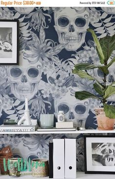 ON SALE 30% Hibiscus and Skull Wallpaper - Removable Wallpaper - Fern Wallpaper - Wall Sticker - Fern Wall Decal - Scull Adhesive Wallpaper
