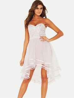 LIPSY VIP Dipped Hem Bandeau Dress Size 14 RRP: £147 on eBay!