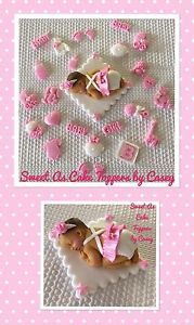 Pink White Baby Girl Cake Topper 24 Cupcake Decorations Baby Shower Fondant | eBay