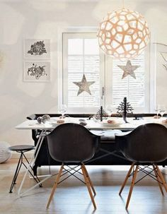 Dining Room , Home Decorating Dining Room In Scandinavian Style : Home Decorating Dining Room Scandinavian Style With Globe Pendant Light And Wall Art And Stars Decor And White Dining Table And Plastic Chairs And Bench