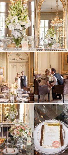 Love the vases filled with pearls (not so keen on the plainness and grandness of the flower arrangements).