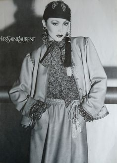 Yves Saint Laurent Haute couture été 1977. Promotion Vogue /Mars 1977. Photographie de David Bailey.