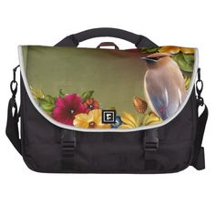 Bird On Pond Green Yellow Laptop Messenger Bag
