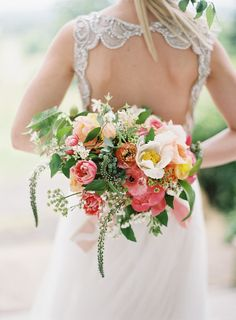 Sprigs of Coral + Green #WeddingBouquet I Holly Heider Chapple Flowers Ltd. I http://www.weddingwire.com/biz/holly-heider-chapple-flowers-ltd-leesburg/portfolio/6ff79b5cdf14eb7d.html?subtab=album&albumId=30366f7fe691edfa