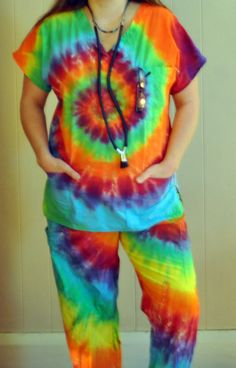 CUSTOM Scrub Top Unisex Tie Dye Hippie by HappyYiayia