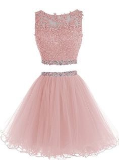 HTYS Beaded Two Pieces Prom Dresses Applique Short Homecoming Dresses HY115