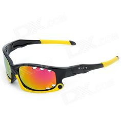 XunQi 077 Outdoor Cycling Sport UV400 Windproof Dust-Proof Sunglasses Goggle - Black   Yellow Price: $8.70